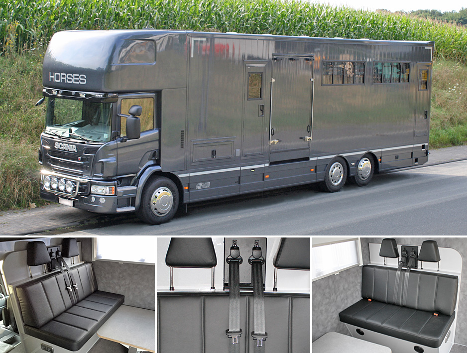 EHC horsebox with seats fitted in superstructure